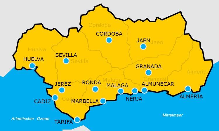 karte von andalusien Die Städte Andalusiens karte von andalusien