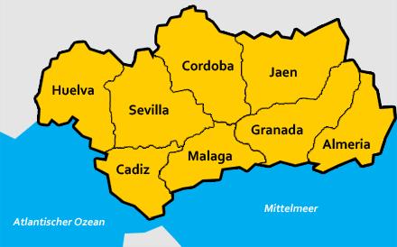 Andalusien Karte Spanien.Portal Für Ihren Andalusien Urlaub