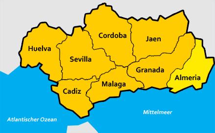 Andalusien Karte Flughäfen.Almeria Provinz In Andalusien