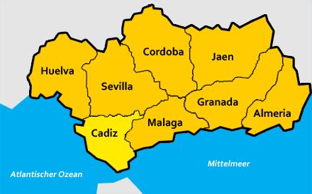 Karte Andalusien Cadiz.Cadiz Provinz In Andalusien