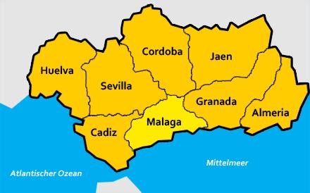 Malaga Karte Spanien.Malaga Provinz In Andalusien